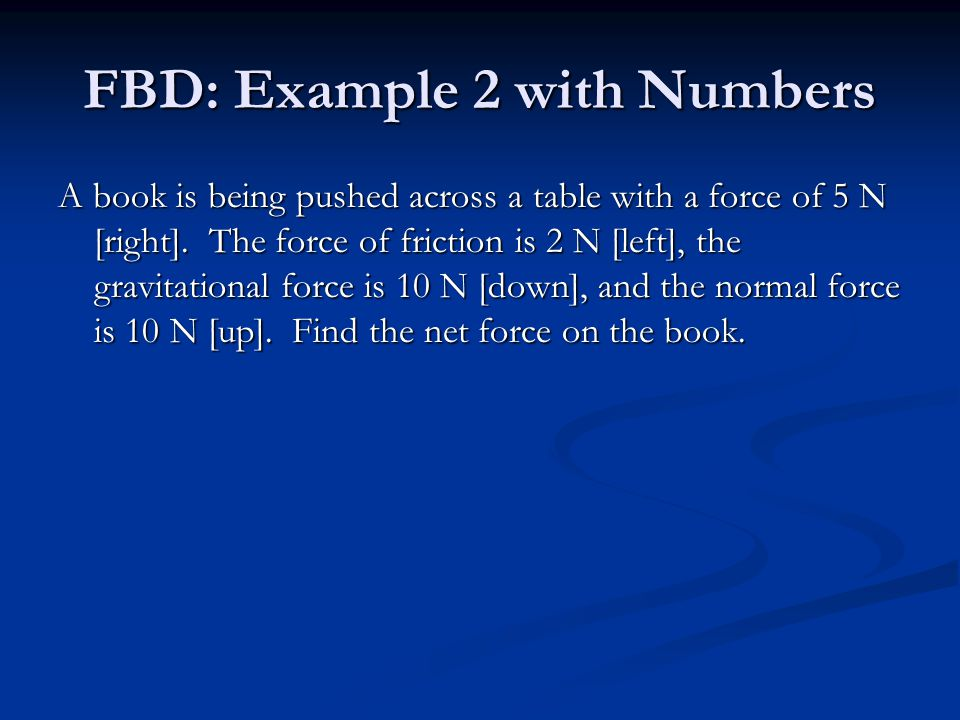 FBD: Example 2 with Numbers A book is being pushed across a table with a force of 5 N [right].
