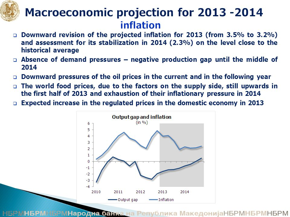 Macroeconomic projection for inflation  Downward revision of the projected inflation for 2013 (from 3.5% to 3.2%) and assessment for its stabilization in 2014 (2.3%) on the level close to the historical average  Absence of demand pressures – negative production gap until the middle of 2014  Downward pressures of the oil prices in the current and in the following year  The world food prices, due to the factors on the supply side, still upwards in the first half of 2013 and exhaustion of their inflationary pressure in 2014  Expected increase in the regulated prices in the domestic economy in 2013