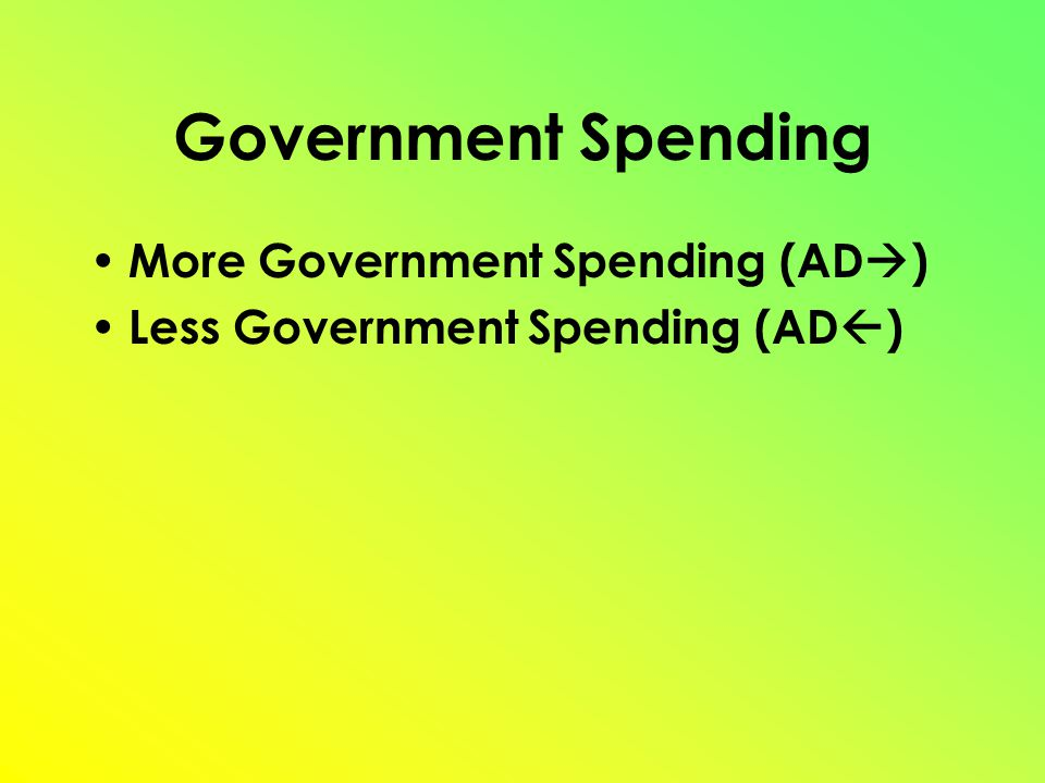 Government Spending More Government Spending (AD  ) Less Government Spending (AD  )