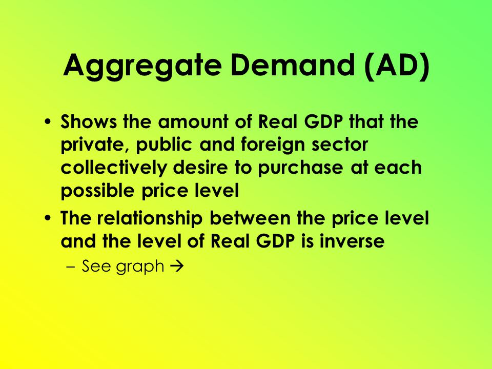 Aggregate Demand (AD) Shows the amount of Real GDP that the private, public and foreign sector collectively desire to purchase at each possible price level The relationship between the price level and the level of Real GDP is inverse –See graph 
