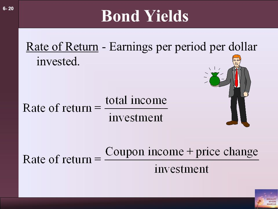 6- 20 Bond Yields Rate of Return - Earnings per period per dollar invested.