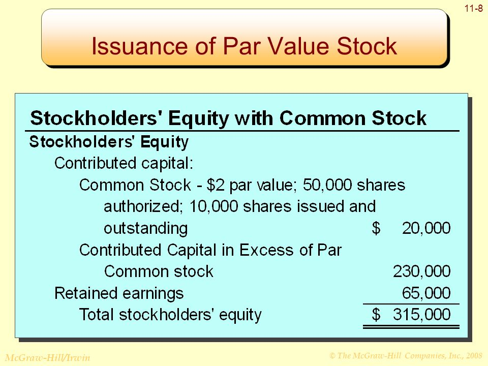 © The McGraw-Hill Companies, Inc., 2008 McGraw-Hill/Irwin 11-8 Issuance of Par Value Stock