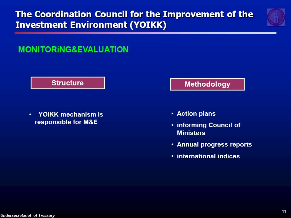Undersecretariat of Treasury 11 MONITORiNG&EVALUATION The Coordination Council for the Improvement of the Investment Environment (YOIKK) Methodology Structure YOiKK mechanism is responsible for M&E Action plans informing Council of Ministers Annual progress reports international indices
