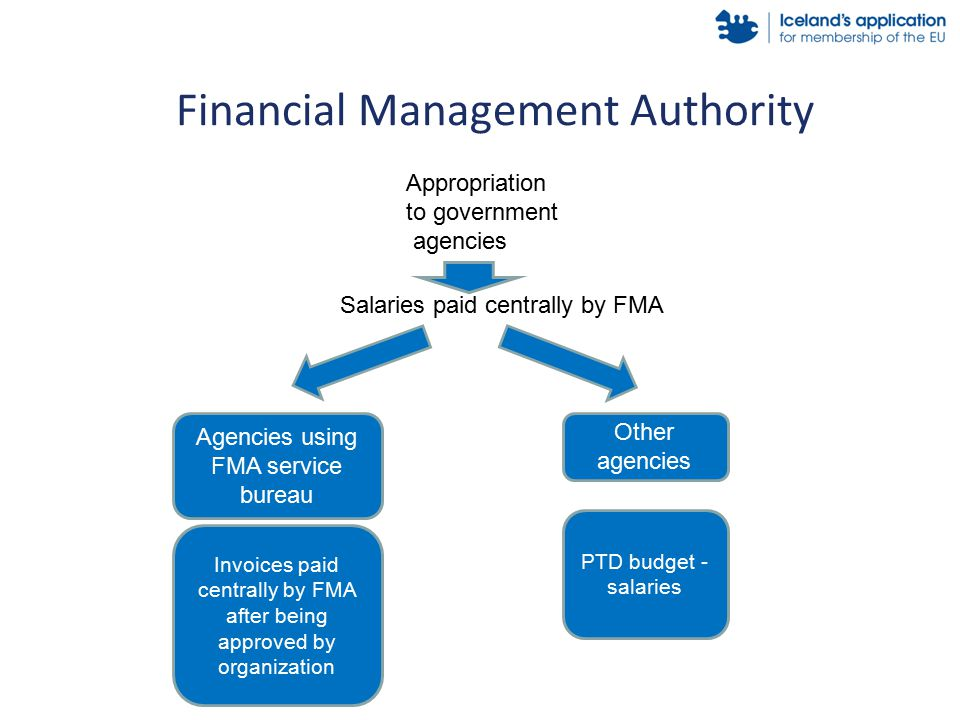 Financial Management Authority Salaries paid centrally by FMA Agencies using FMA service bureau Invoices paid centrally by FMA after being approved by organization Other agencies PTD budget - salaries Appropriation to government agencies