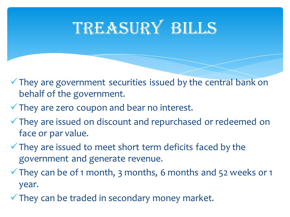 They are government securities issued by the central bank on behalf of the government.
