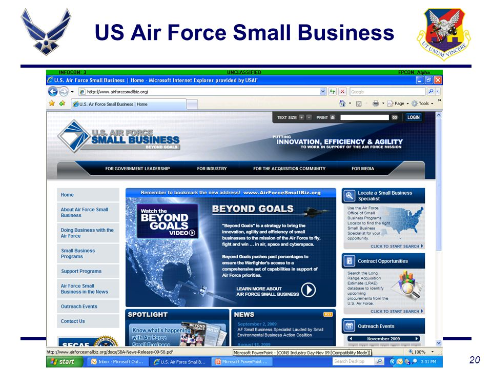 20 WIN AS ONE US Air Force Small Business