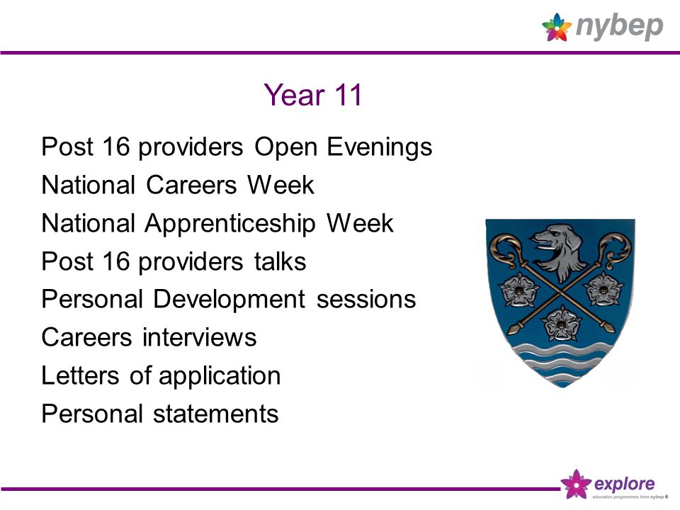 Year 11 Post 16 providers Open Evenings National Careers Week National Apprenticeship Week Post 16 providers talks Personal Development sessions Careers interviews Letters of application Personal statements