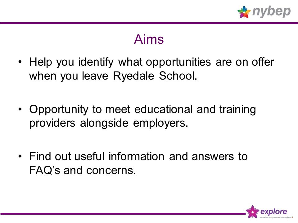 Aims Help you identify what opportunities are on offer when you leave Ryedale School.