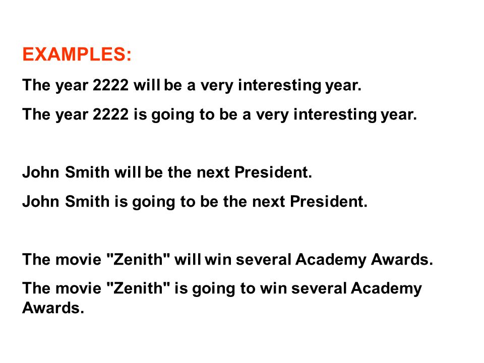 EXAMPLES: The year 2222 will be a very interesting year.