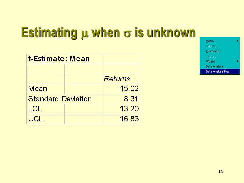 16 Estimating  when  is unknown