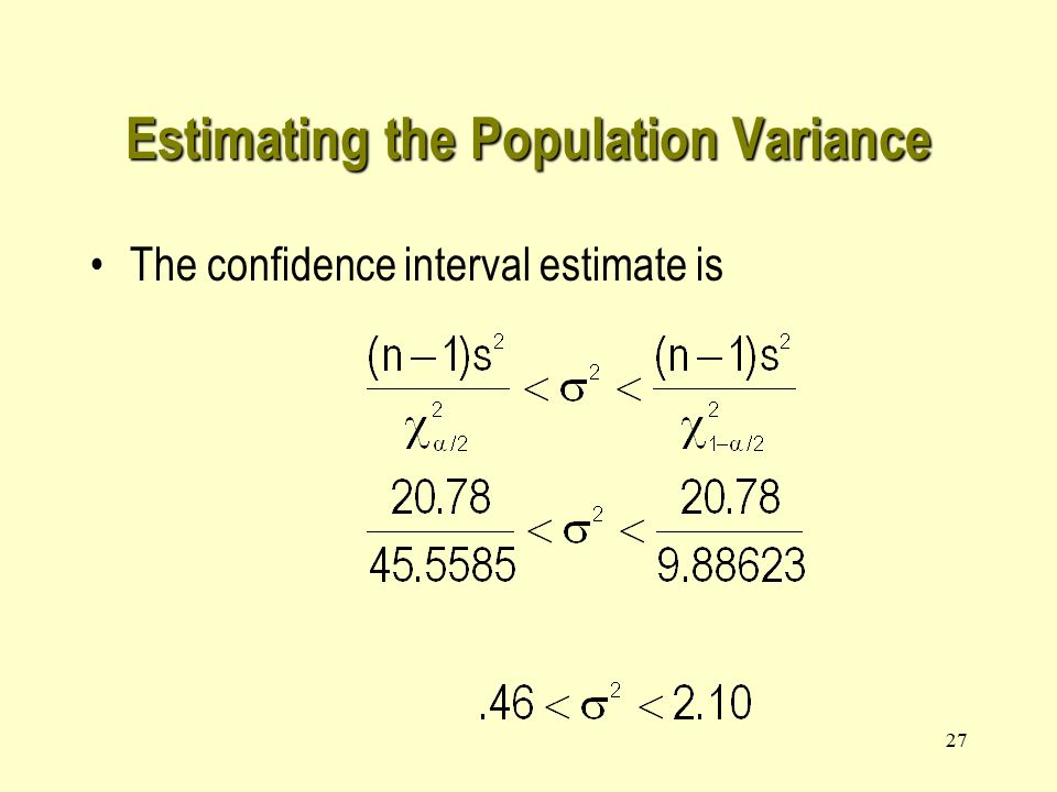 27 The confidence interval estimate is Estimating the Population Variance
