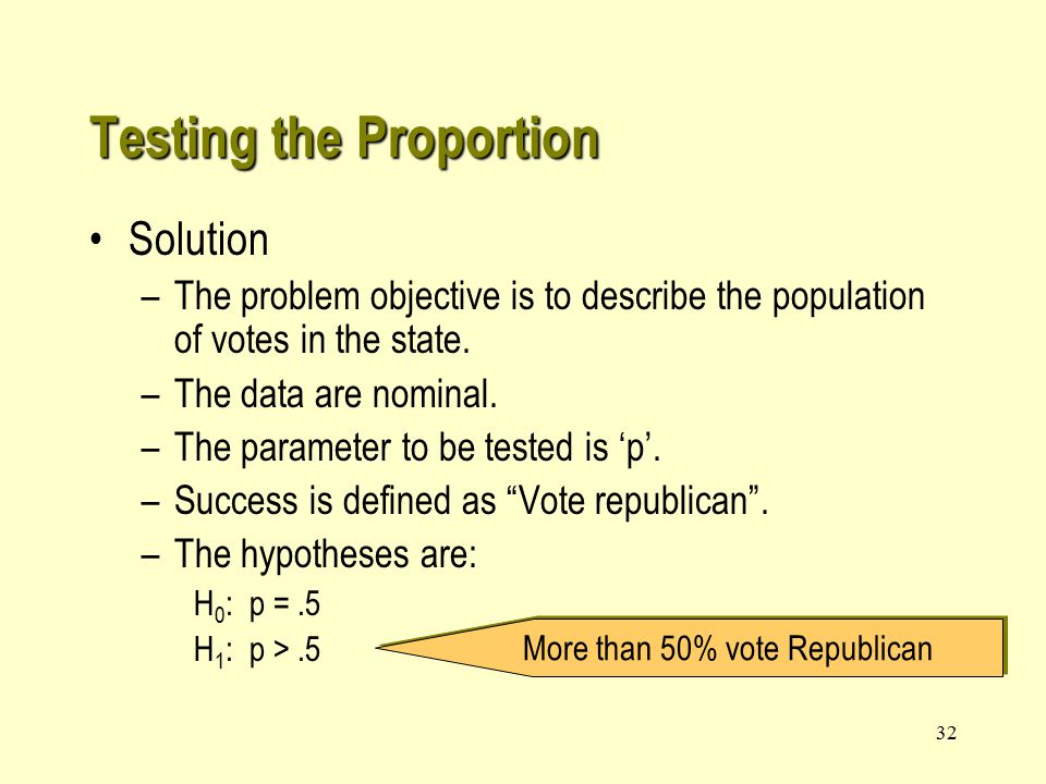 32 Solution –The problem objective is to describe the population of votes in the state.