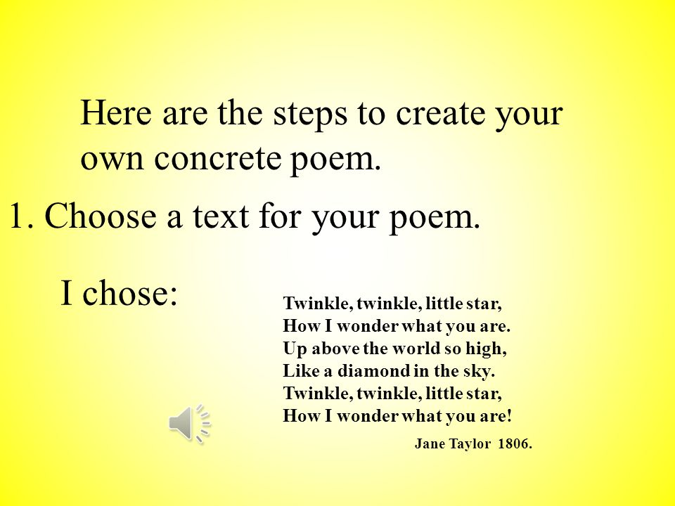 A concrete poem is one who's shape matches the content of the poem.