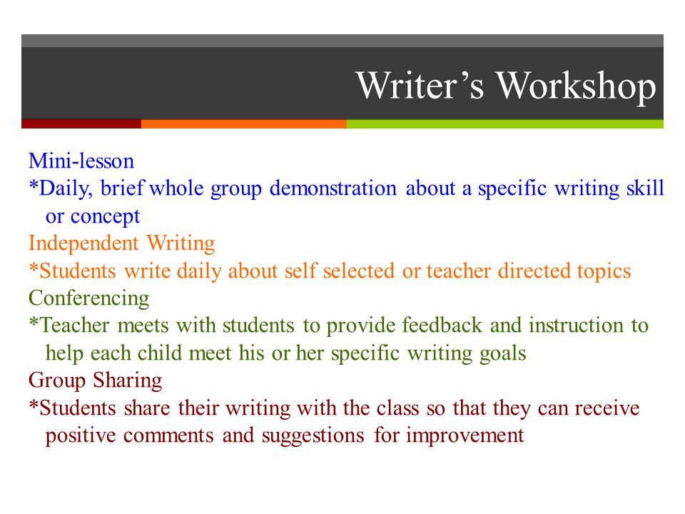 Writer's Workshop Mini-lesson *Daily, brief whole group demonstration about a specific writing skill or concept Independent Writing *Students write daily about self selected or teacher directed topics Conferencing *Teacher meets with students to provide feedback and instruction to help each child meet his or her specific writing goals Group Sharing *Students share their writing with the class so that they can receive positive comments and suggestions for improvement