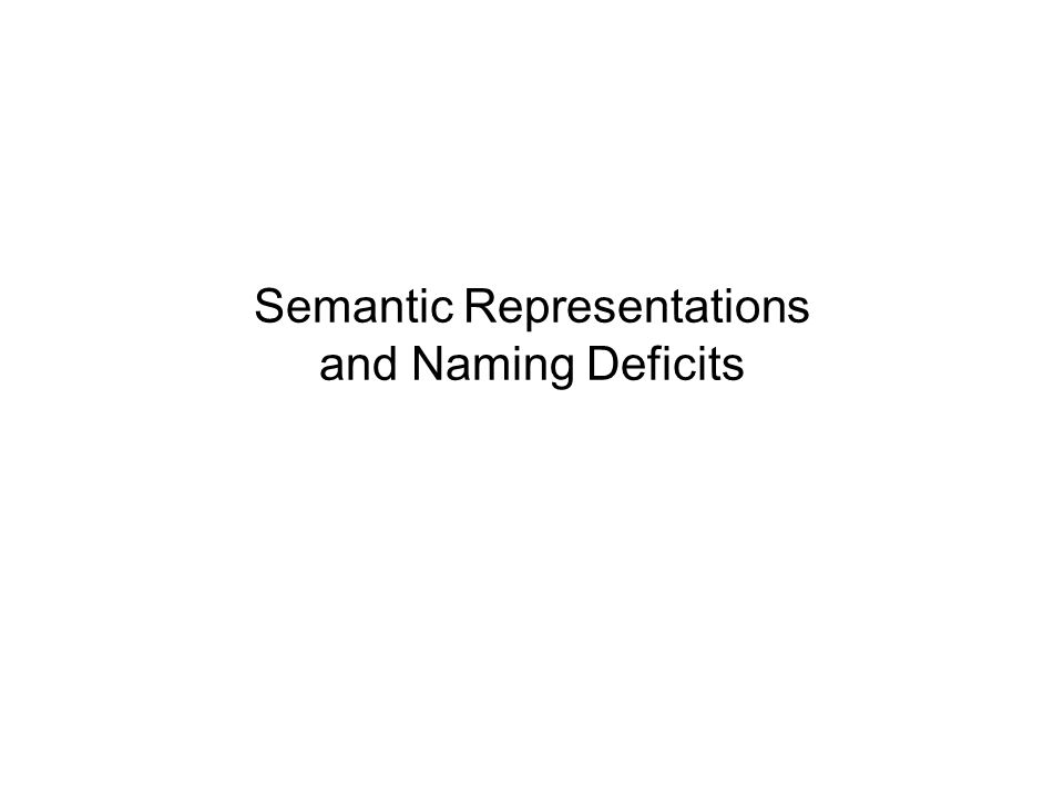 Semantic Representations and Naming Deficits