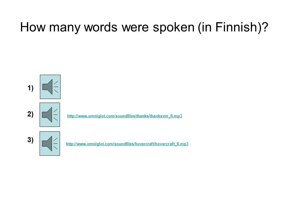 How many words were spoken (in Finnish).