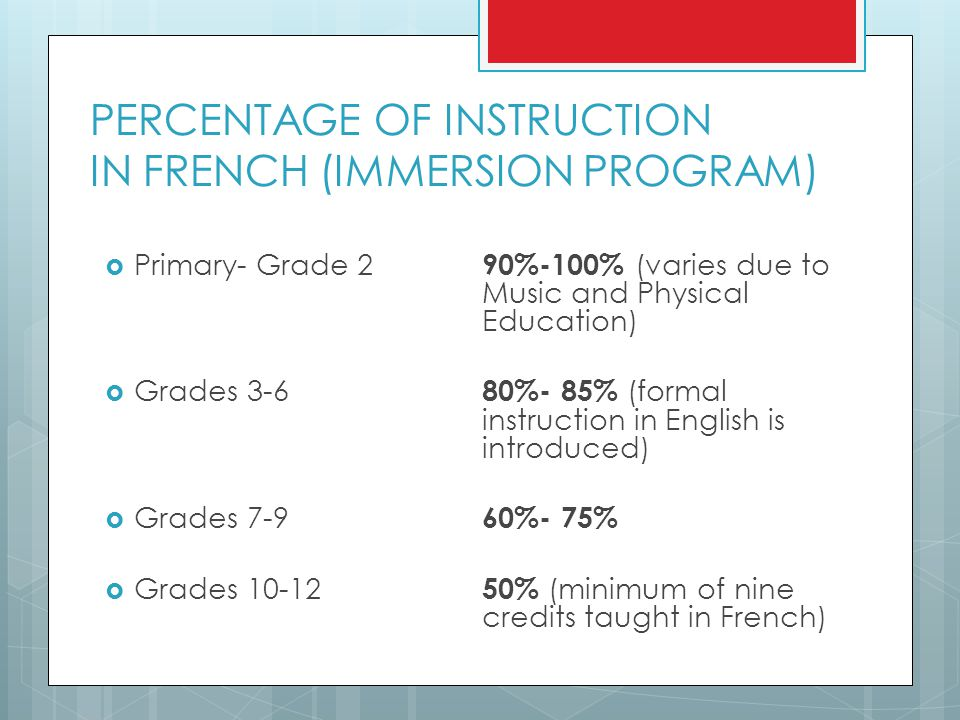 PERCENTAGE OF INSTRUCTION IN FRENCH (IMMERSION PROGRAM)  Primary- Grade 2 90%-100% (varies due to Music and Physical Education)  Grades %- 85% (formal instruction in English is introduced)  Grades %- 75%  Grades % (minimum of nine credits taught in French)