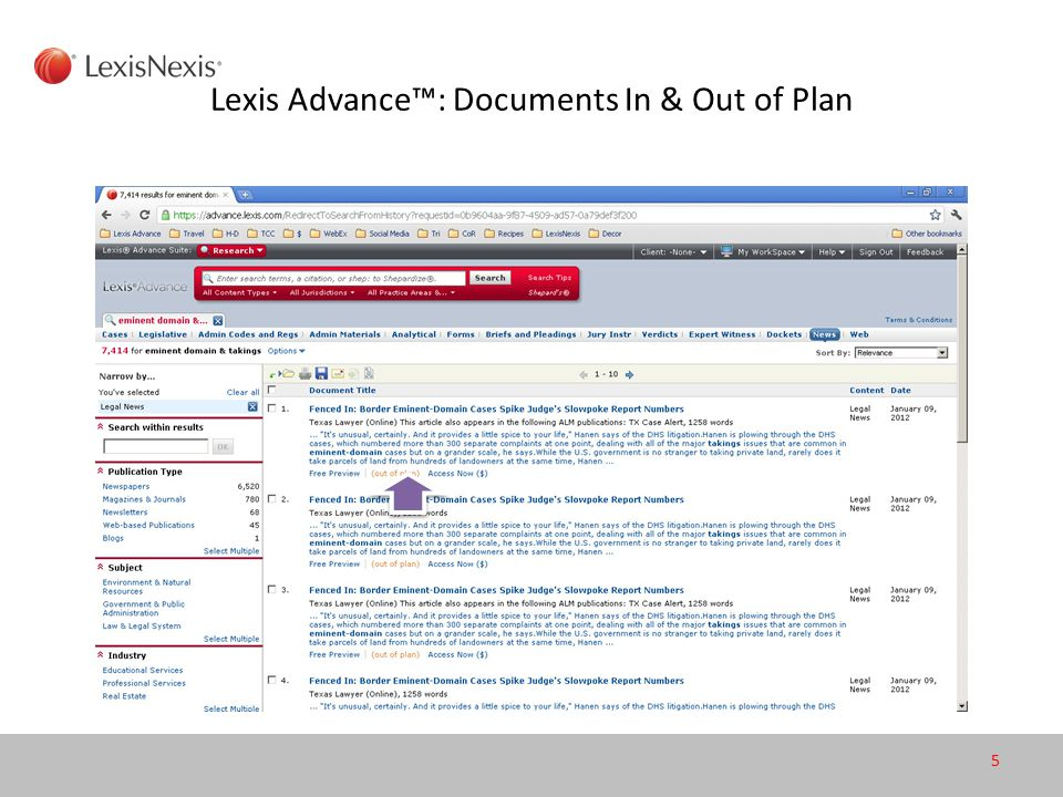Lexis Advance™: Documents In & Out of Plan 5