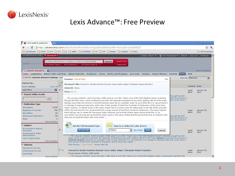 Lexis Advance™: Free Preview 6