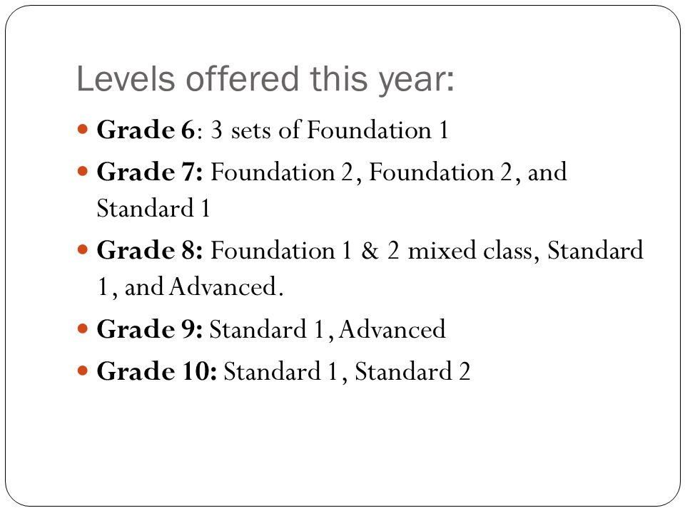 Levels offered this year: Grade 6: 3 sets of Foundation 1 Grade 7: Foundation 2, Foundation 2, and Standard 1 Grade 8: Foundation 1 & 2 mixed class, Standard 1, and Advanced.