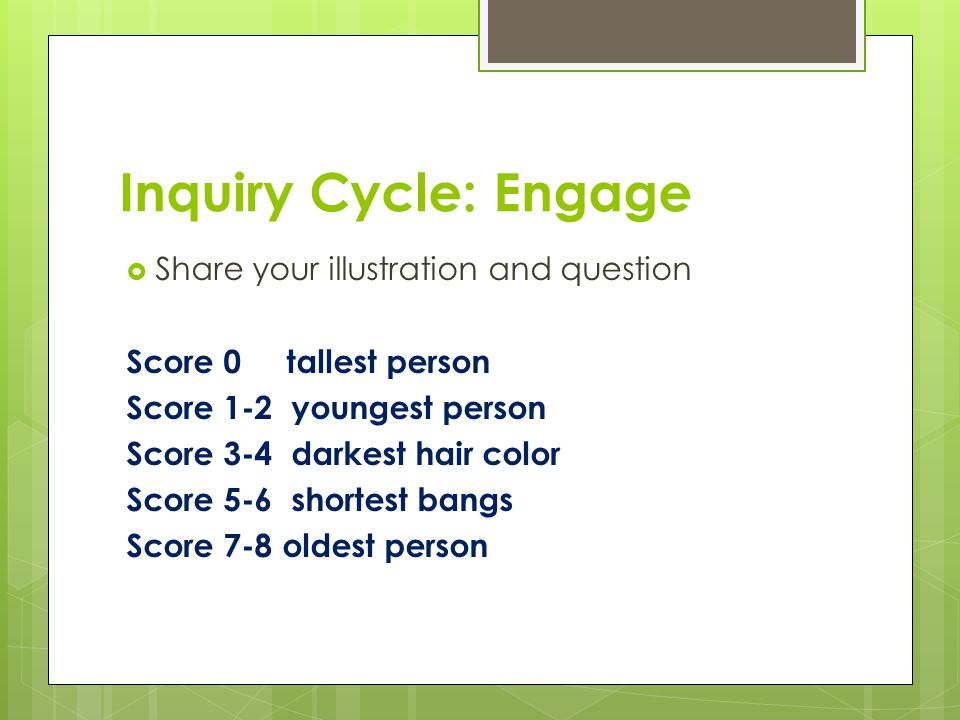 Inquiry Cycle: Engage  Share your illustration and question Score 0 tallest person Score 1-2 youngest person Score 3-4 darkest hair color Score 5-6 shortest bangs Score 7-8 oldest person