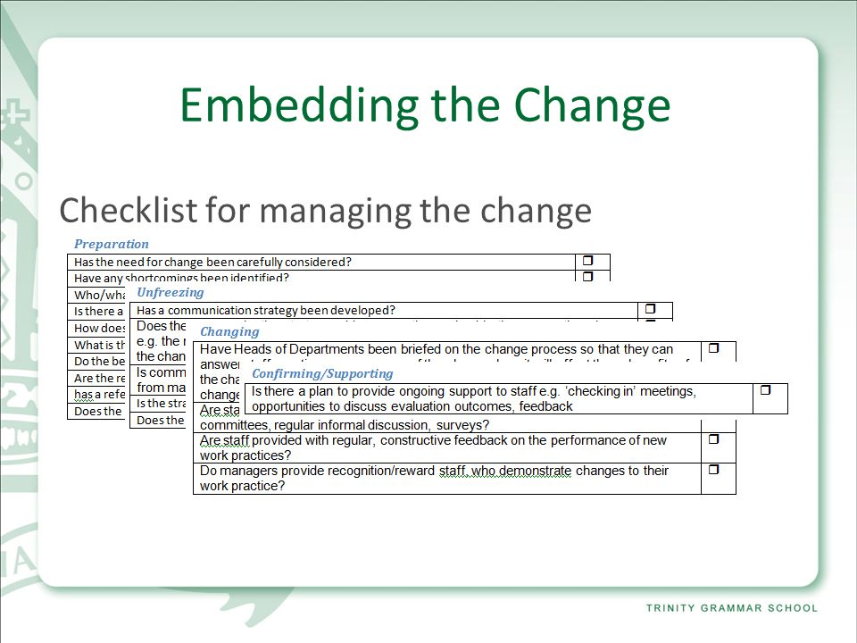 Embedding the Change Checklist for managing the change