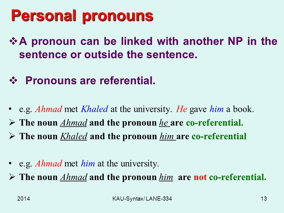 Personal pronouns 2014KAU-Syntax/ LANE-33413