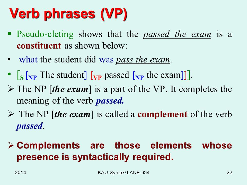 Verb phrases (VP) 2014KAU-Syntax/ LANE-33422