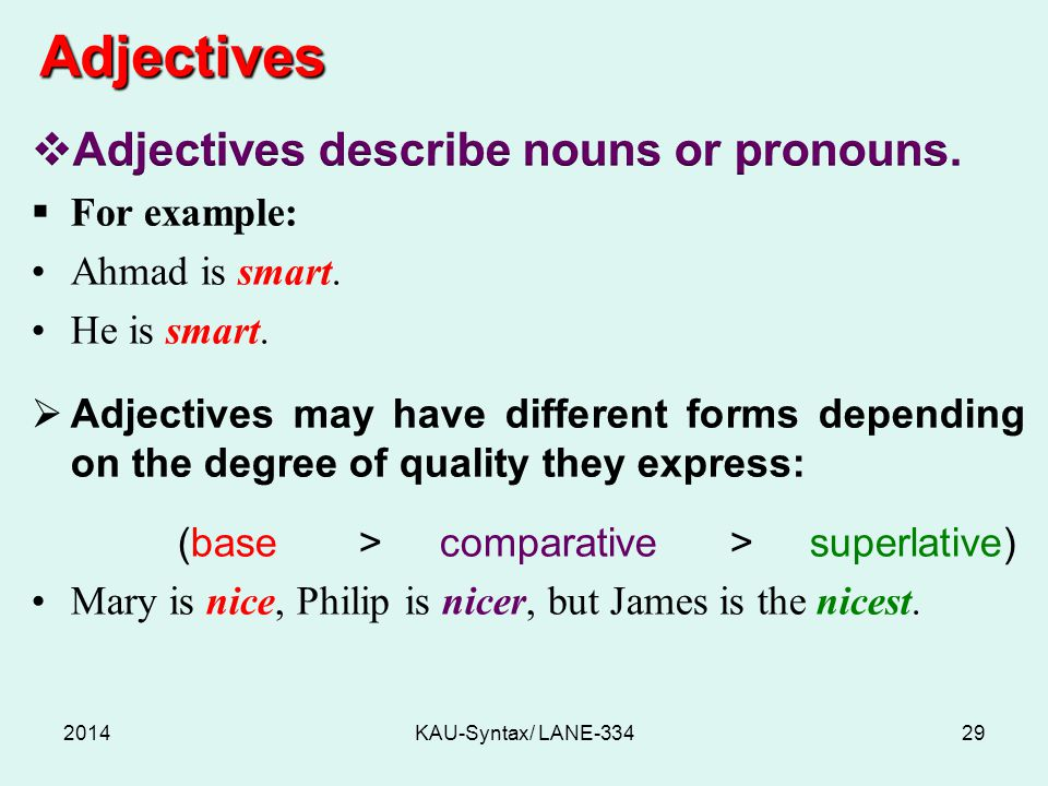 Adjectives 2014KAU-Syntax/ LANE-33429