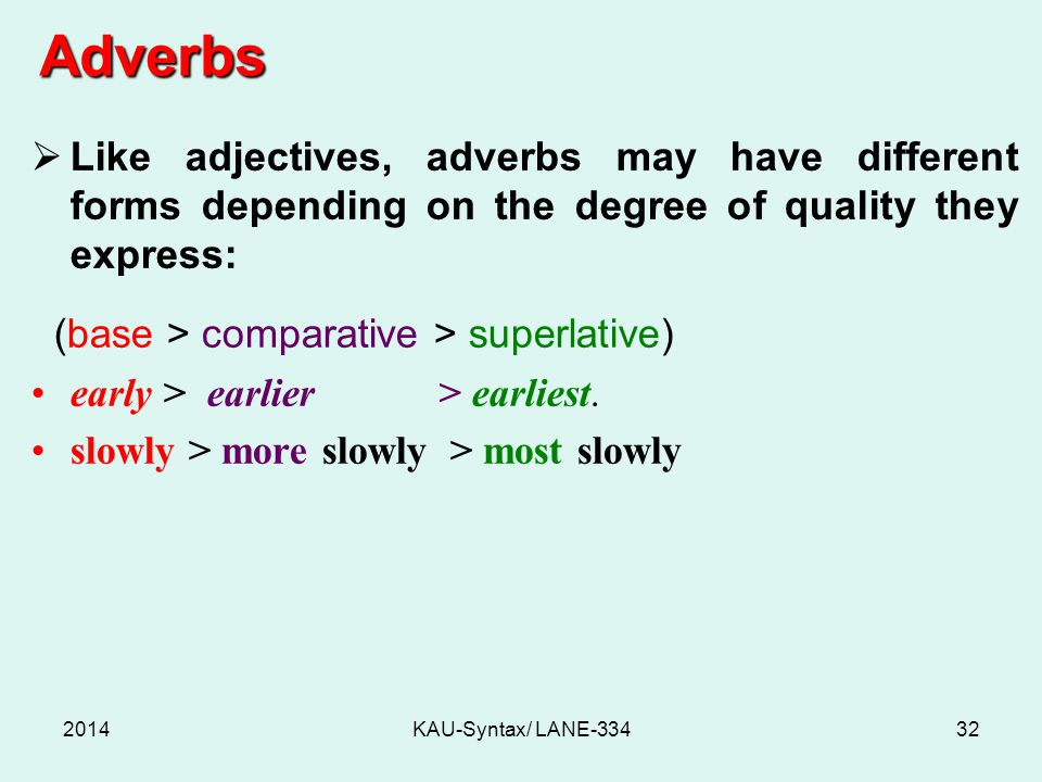 Adverbs 2014KAU-Syntax/ LANE-33432