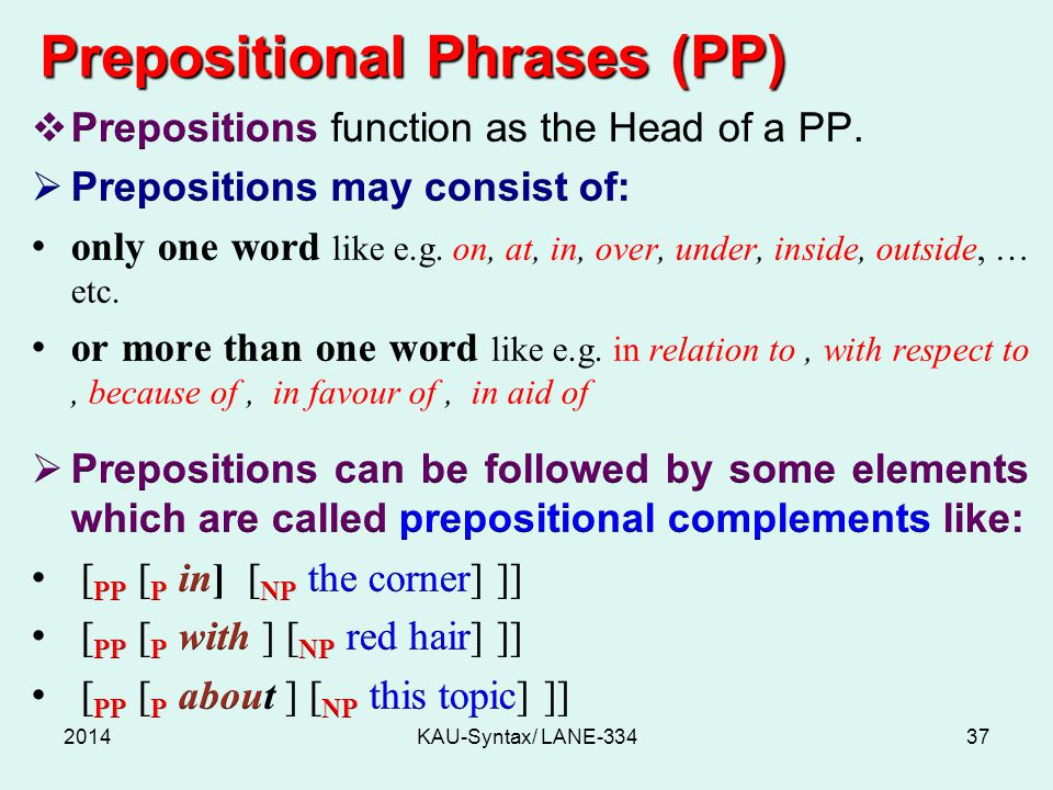 Prepositional Phrases (PP) 2014KAU-Syntax/ LANE-33437