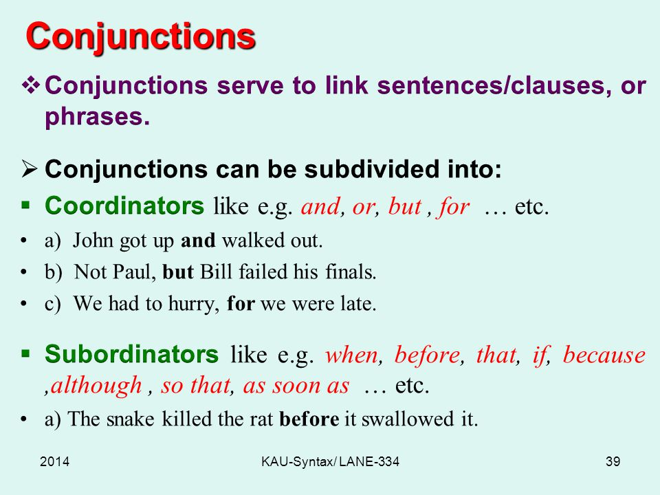 Conjunctions 2014KAU-Syntax/ LANE-33439
