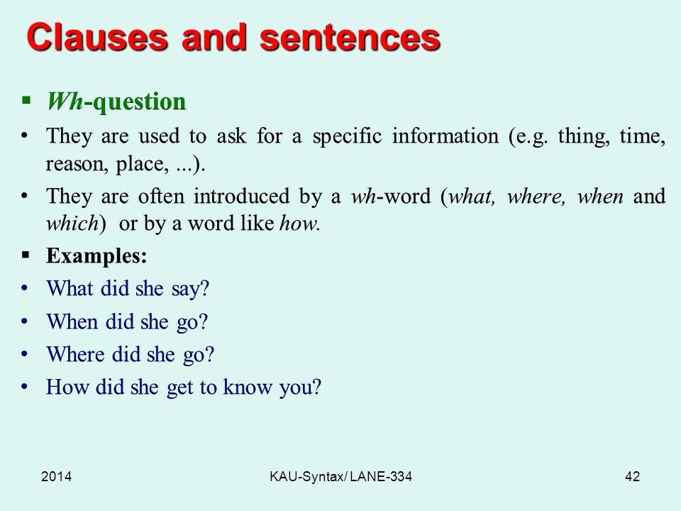 Clauses and sentences 2014KAU-Syntax/ LANE-33442