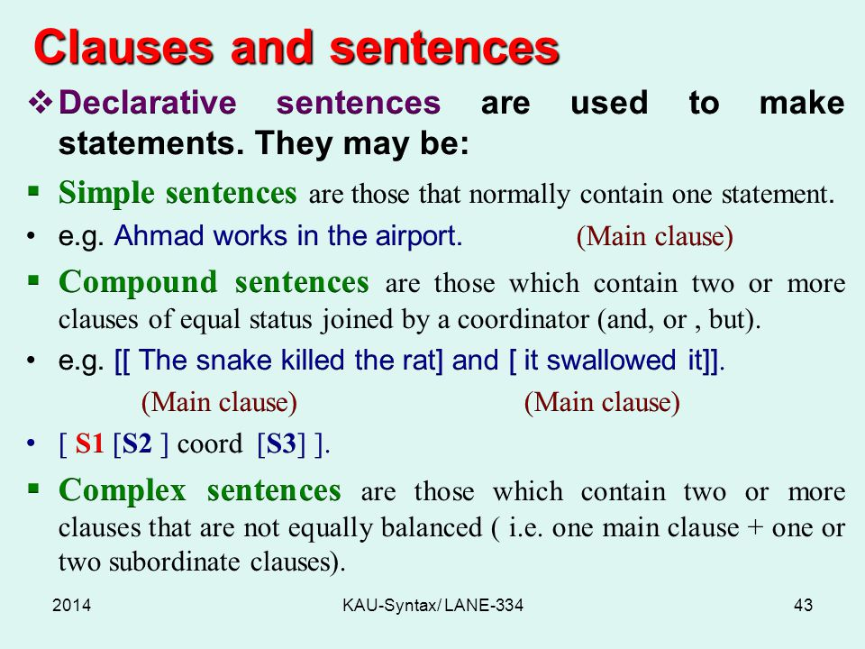 Clauses and sentences 2014KAU-Syntax/ LANE-33443
