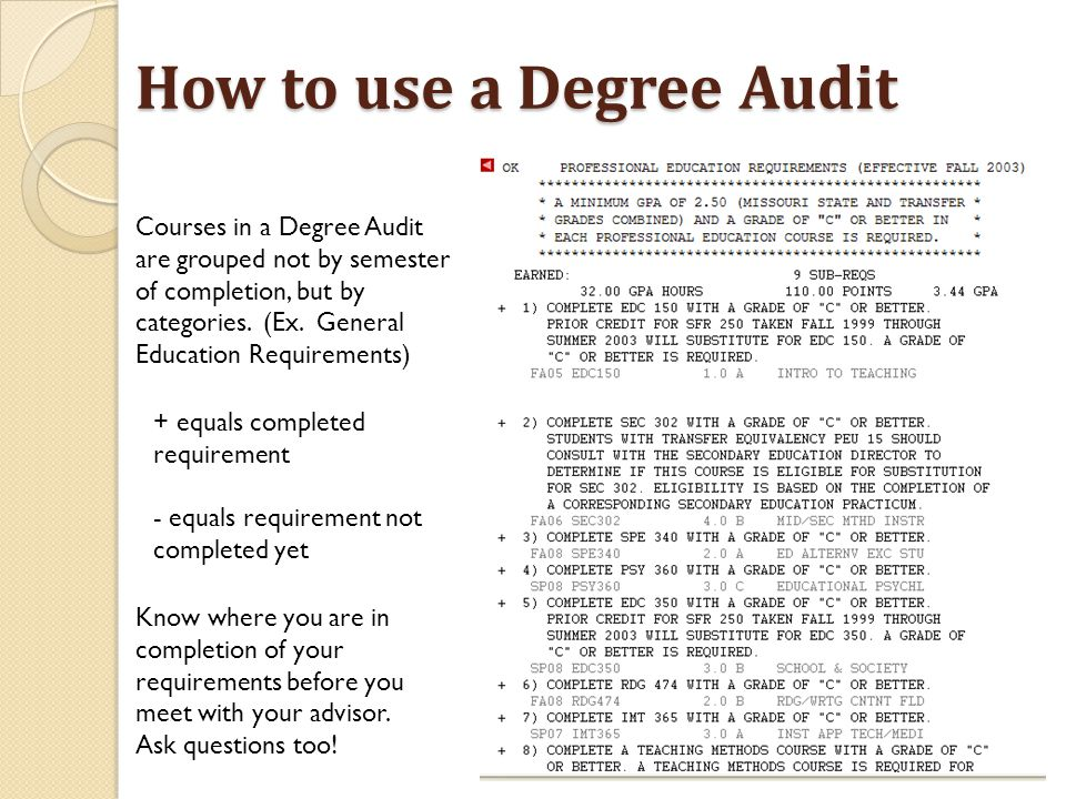 How to use a Degree Audit Courses in a Degree Audit are grouped not by semester of completion, but by categories.