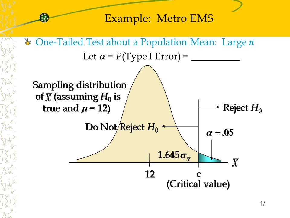 17 Example: Metro EMS One-Tailed Test about a Population Mean: Large n Let  = P (Type I Error) = __________ Sampling distribution of (assuming H 0 is true and  = 12) Sampling distribution of (assuming H 0 is true and  = 12)  12 c c Reject H 0 Do Not Reject H  (Critical value)