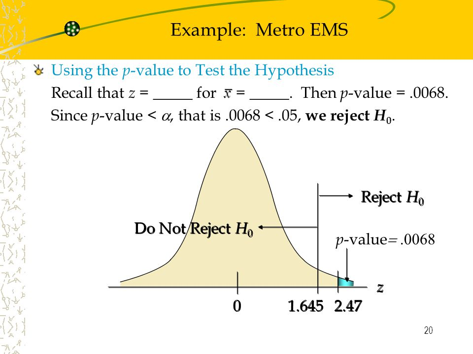 20 Using the p -value to Test the Hypothesis Recall that z = _____ for = _____.