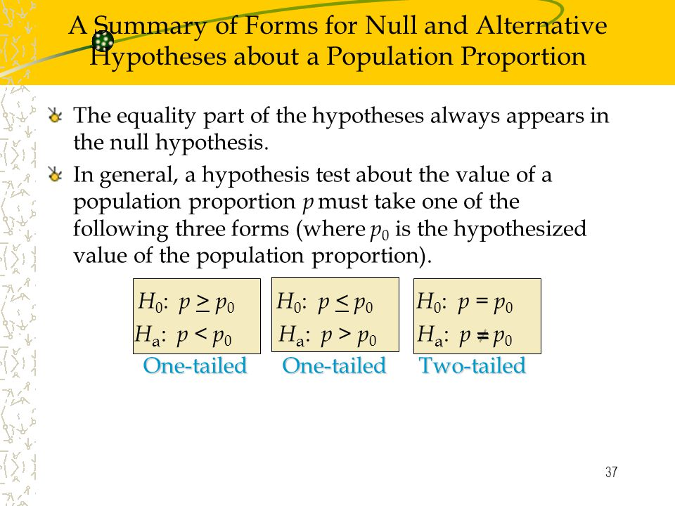 37 The equality part of the hypotheses always appears in the null hypothesis.