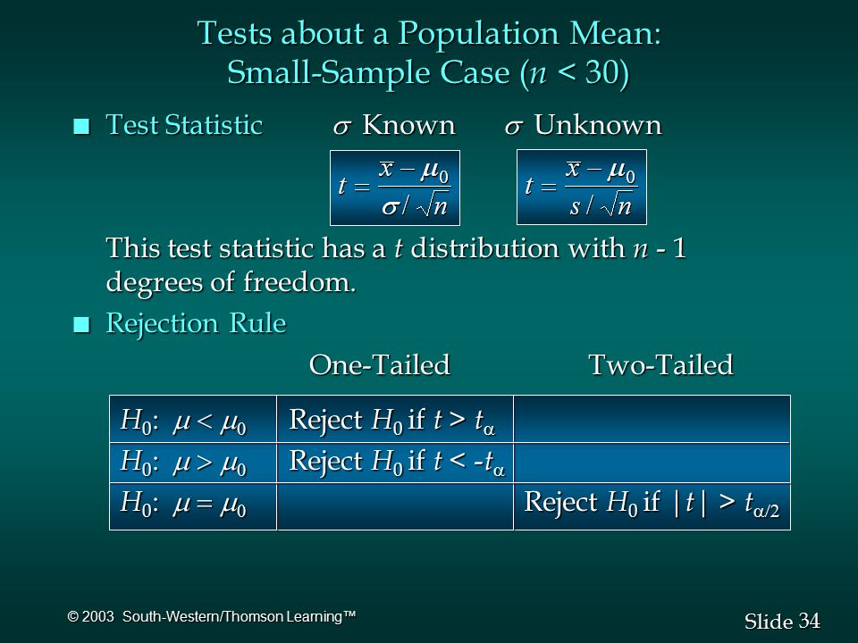 34 Slide © 2003 South-Western/Thomson Learning™ Test Statistic  Known  Unknown Test Statistic  Known  Unknown This test statistic has a t distribution with n - 1 degrees of freedom.