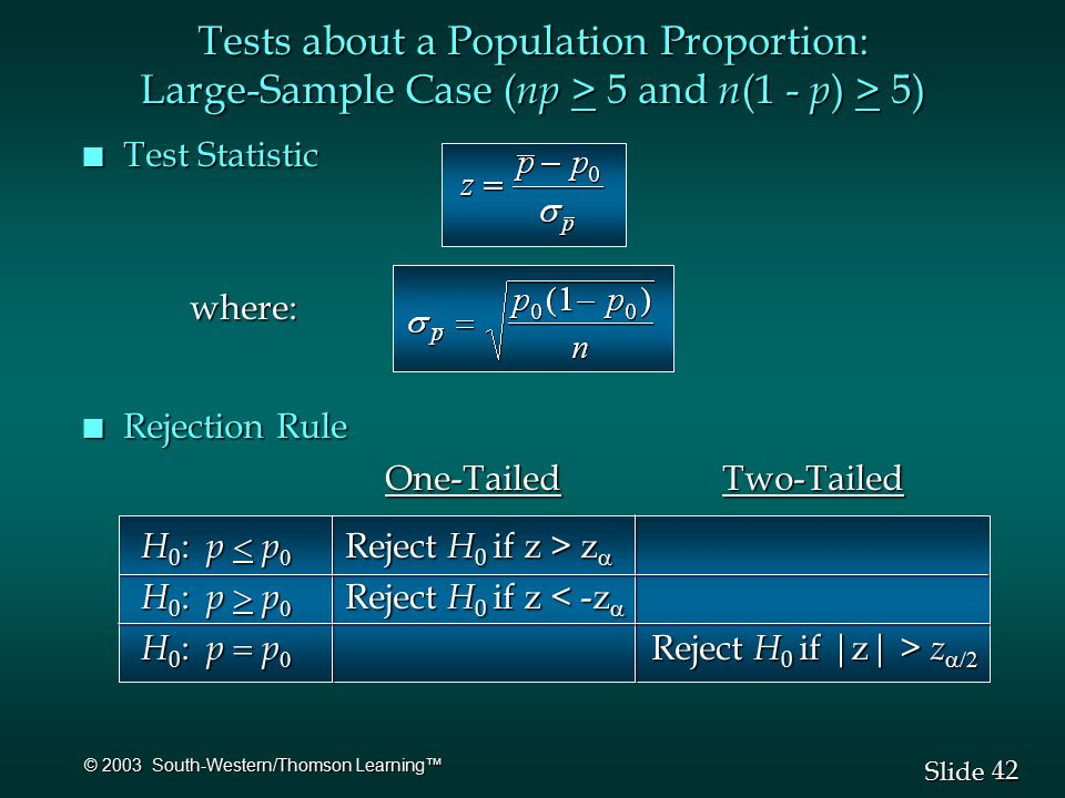 42 Slide © 2003 South-Western/Thomson Learning™ Tests about a Population Proportion: Large-Sample Case ( np > 5 and n (1 - p ) > 5) n Test Statistic where: n Rejection Rule One-Tailed Two-Tailed One-Tailed Two-Tailed H 0 : p  p  Reject H 0 if z > z  H 0 : p  p  Reject H 0 if z > z  H 0 : p  p  Reject H 0 if z < -z  H 0 : p  p  Reject H 0 if z < -z  H 0 : p  p  Reject H 0 if |z| > z  H 0 : p  p  Reject H 0 if |z| > z 