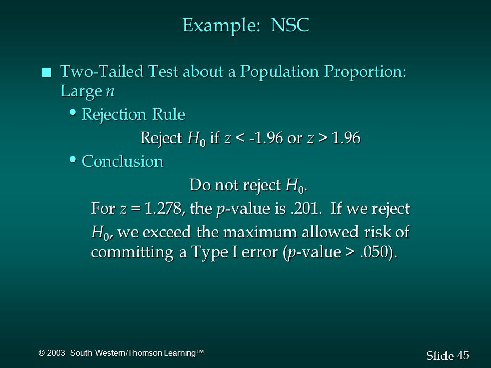45 Slide © 2003 South-Western/Thomson Learning™ Example: NSC n Two-Tailed Test about a Population Proportion: Large n Rejection Rule Rejection Rule Reject H 0 if z 1.96 Conclusion Conclusion Do not reject H 0.