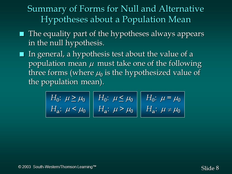 8 8 Slide © 2003 South-Western/Thomson Learning™ Summary of Forms for Null and Alternative Hypotheses about a Population Mean n The equality part of the hypotheses always appears in the null hypothesis.