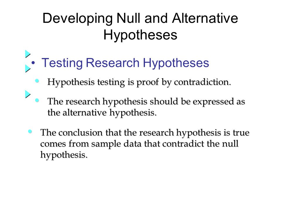 Testing Research Hypotheses Developing Null and Alternative Hypotheses Hypothesis testing is proof by contradiction.