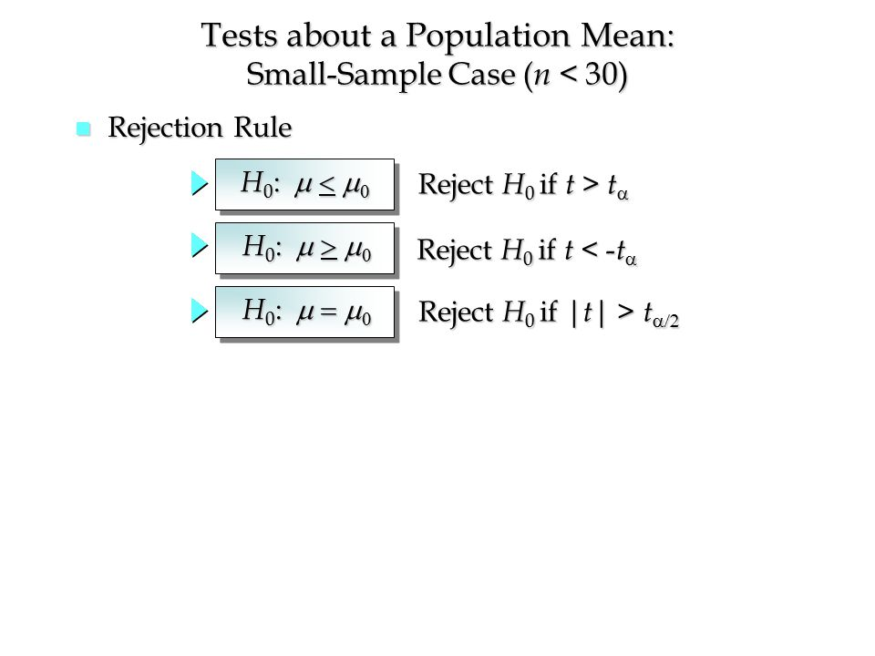 n Rejection Rule Tests about a Population Mean: Small-Sample Case ( n < 30) H 0 :   Reject H 0 if t > t  Reject H 0 if t < - t  Reject H 0 if | t | > t  H 0 :   H 0 :  