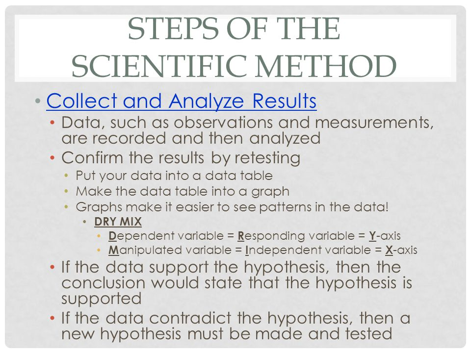STEPS OF THE SCIENTIFIC METHOD Collect and Analyze Results Data, such as observations and measurements, are recorded and then analyzed Confirm the results by retesting Put your data into a data table Make the data table into a graph Graphs make it easier to see patterns in the data.