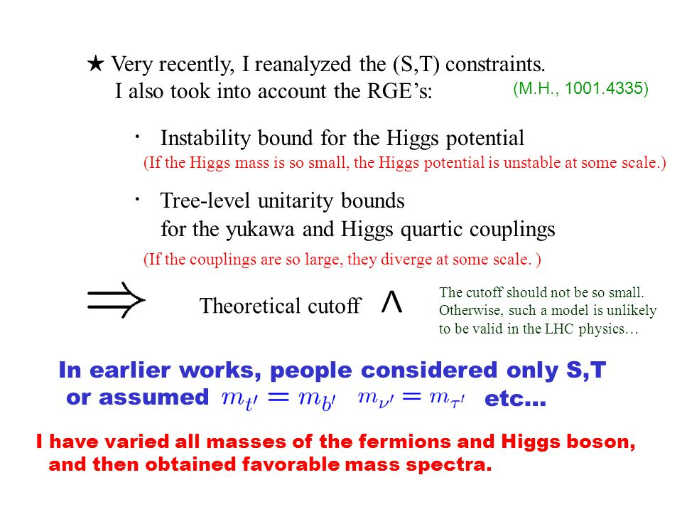 ★ Very recently, I reanalyzed the (S,T) constraints.