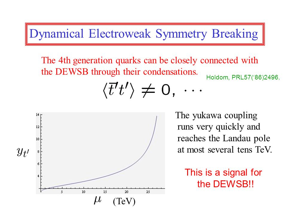 Dynamical Electroweak Symmetry Breaking The 4th generation quarks can be closely connected with the DEWSB through their condensations.
