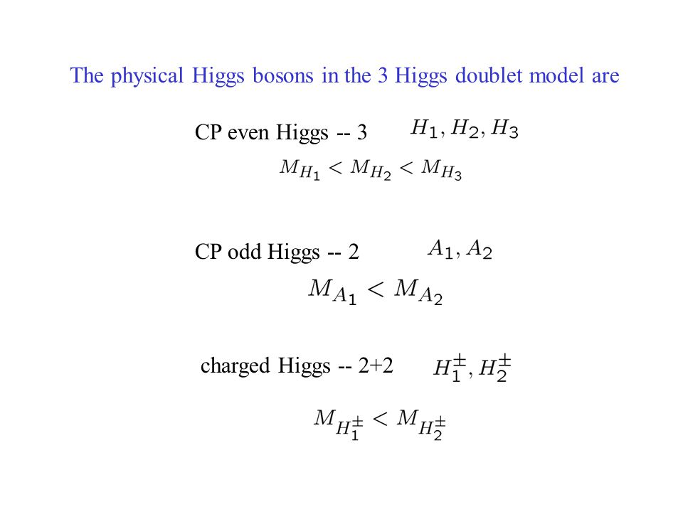 The physical Higgs bosons in the 3 Higgs doublet model are CP even Higgs -- 3 CP odd Higgs -- 2 charged Higgs