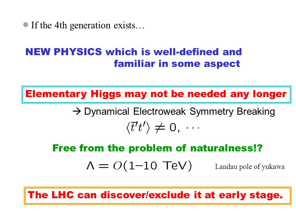 ◎ If the 4th generation exists… NEW PHYSICS which is well-defined and familiar in some aspect Elementary Higgs may not be needed any longer  Dynamical Electroweak Symmetry Breaking Free from the problem of naturalness!.