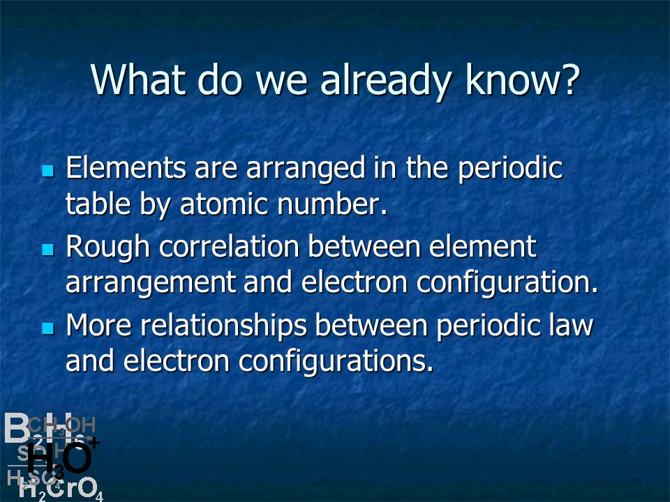 What do we already know. Elements are arranged in the periodic table by atomic number.